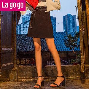 Lagogo2017年夏秋季新款纯色拉链腰带半身裙女休闲高腰短款裙子