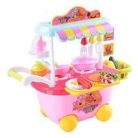 男孩女孩做饭玩具儿童过家家厨房套餐仿真灯光迷你快餐车手推车