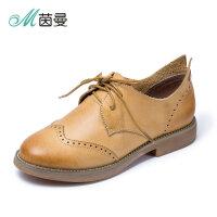 茵曼女鞋英伦学院风复古文艺圆头单鞋牛津布洛克小皮鞋4872030082