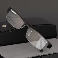 钛合金近视眼镜男款半框板材眼镜架弹簧腿 配平光变色防蓝光成品