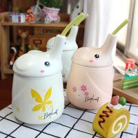【包邮】新款长鼻大象吸管杯卡通马克杯哑光立体动物创意水杯子陶瓷杯