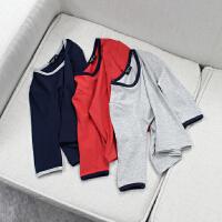 婴童装男女宝宝纯色家居服春秋薄款长袖婴儿睡衣套装