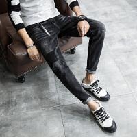 新款牛仔裤男黑色修身小脚裤青少年潮流弹力补丁牛仔哈伦男长裤子