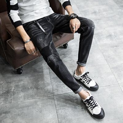 新款牛仔裤男黑色修身小脚裤青少年潮流弹力补丁牛仔哈伦男长裤子 发货周期:一般在付款后2-90天左右发货,具体发货时间请以与客服协商的时间为准
