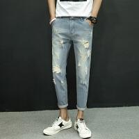新款2018男士裤子夏季男士牛仔韩版修身九分牛仔裤男青年男生潮流