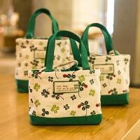 小清新四叶草学生帆布艺束口女妈咪包小手提包拎便当饭盒包袋
