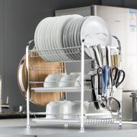 三层碗架沥放碗架厨房用品置物架家用不锈钢沥水晾碗架碗筷收纳盒