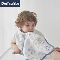 Domiamia四层纱布小方巾喂奶巾新生婴儿口水巾洗脸毛巾宝宝手帕2件装