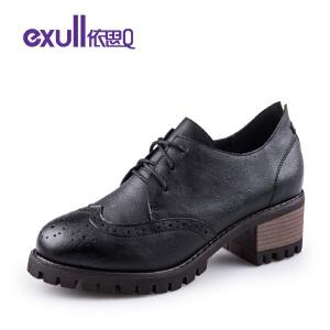 依思q春季新款布洛克雕花复古女士粗跟高跟深口单鞋