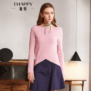 海贝2018春季新款女装上衣 圆领长袖修身纯色不规则针织衫打底衫