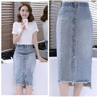 新夏装季牛仔半身裙韩版潮女装裙子包臀一步裙中长 浅蓝色