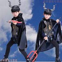 圣诞节儿童演出服男披风盔甲牛魔王巫师魔法师装 黑色