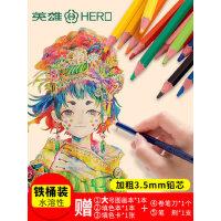 英雄水溶性彩铅120色彩色铅笔成人手绘画画套装36色48 72色画笔儿童初学者学生专业美术用品水溶款彩笔彩铅笔