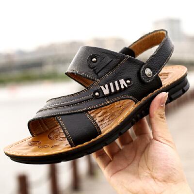 宜驰 EGCHI 凉鞋男士户外沙滩套脚头层牛皮凉鞋子 10788