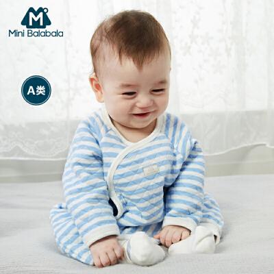 迷你巴拉巴拉婴儿夹棉印花内着连体衣2019春新品童装男女宝宝爬服