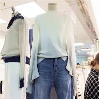 港味chic复古韩国气质优雅随意长袖渐变色针织衫开衫3