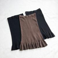 大码女装秋冬新款罗纹高弹力针织半身裙胖mm鱼尾裙包臀中长裙