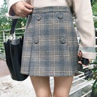 韩版秋冬新款复古修身格子毛呢半身裙女学生甜美高腰A字短裙
