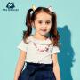迷你巴拉巴拉女童儿童短袖新款夏季娃娃领基础T恤薄款上衣