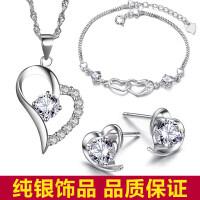 925银项链女心形锁骨链情侣简约日韩版吊坠学生首饰品生日礼物 套加礼盒
