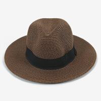 帽子男士户外夏天礼帽大檐遮阳帽防晒太阳帽沙滩帽夏季度假草帽男 均码