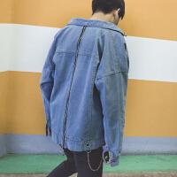 牛仔外套男韩版潮流新款春秋季浅色水洗宽松休闲夹克外穿衣服