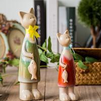 美式乡村装饰品摆件家居饰品陶瓷创意情侣小猫提鱼客厅展柜摆设品