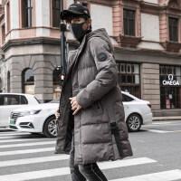 2018新款冬季外套男中长款棉衣羽绒棉袄青少年韩版潮流冬装男 Y18382-灰色