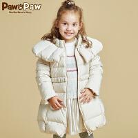 【2件2.5折 到手价:325】Pawinpaw宝英宝小熊童装冬款女童中长款羽绒服斗篷领厚外套