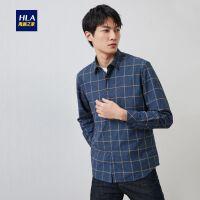 HLA/海澜之家时尚休闲格纹长袖衬衫2019冬季新品保暖长衬男