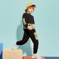 【春新品2件4折:150】巴拉巴拉旗下巴帝巴帝男童黑色卫衣套装2020春季新款儿童运动服帅气潮酷男