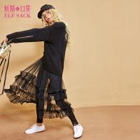 【每满100减50】妖精的口袋Y普罗旺斯冬装新款花边A型网纱柔软半身裙子女