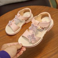女童沙滩凉鞋平底新款小女孩公主鞋露趾中大童儿童鞋子