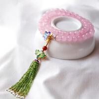 天然粉晶多圈烧蓝手链女 粉水晶芙蓉石饰品礼品