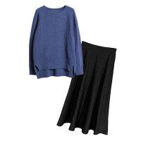 胖mm春装新款大码女装洋气套装200斤胖妹妹针织连衣裙毛衣两件套 蓝色上衣+黑色裙子