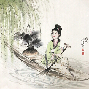 白伯骅《江边游》著名画家