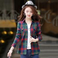 茉蒂菲莉 衬衫 女士加绒加厚格子长袖修身型翻领上衣冬季新款韩版女式时尚休闲舒适百搭女装