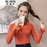 玛莲莎2018新款韩版修身套头蕾丝花边打底女潮