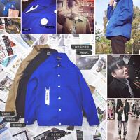 秋冬装电光蓝工装飘带夹克潮男女同款衬衫外套青少年街舞日系上衣
