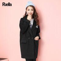 呢子大衣女中长款韩版春季新款宽松小个子学生西装领黑色春季外套