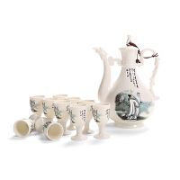 景德镇青花瓷酒具酒壶套装白酒黄酒酒杯套件家用陶瓷仿古清酒复古