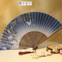 日式折扇中国风女式扇子绢扇樱花和风工艺古风折叠小扇