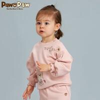 【3件4折 到手价:159】Pawinpaw卡通小熊童装秋女宝宝斜襟开扣套头长袖卫衣