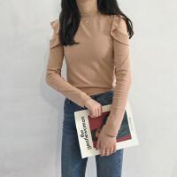 新款半高领露肩长袖纯色时尚气质小清新荷叶边显瘦甜美打底衫