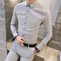 新款男士衬衫长袖格子衬衣韩版修身职业上班春秋潮男寸衫上衣