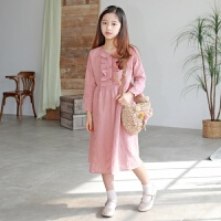 2019 韩版中大童连衣裙复古淑女春童裙时尚女童装 粉色