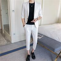 韩版修身休闲白色西装套装男式中袖西服九分裤时尚伴郎礼服两件套
