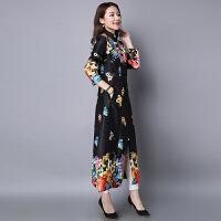 长款风衣秋装新款民族风女装印花中国风复古文艺范宽松外套