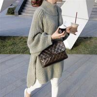 秋冬韩版宽松中长款半高领长袖针织上衣百搭套头灯笼袖毛衣外套女