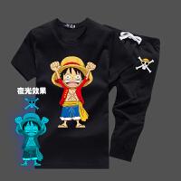 卡通动漫衣服学生青少年海贼王路飞3t恤荧光夜光衣服学生套装夏季